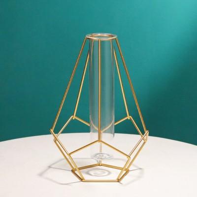 フラワー花瓶メタルフレームプラントホルダーホームデコレーションスタイル2ゴールド