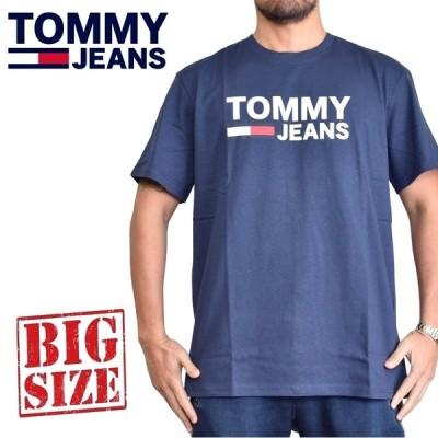 SALE 大きいサイズメンズ トミーヒルフィガージーンズ TOMMY HILFIGER JEANS クルーネック 半袖Tシャツ [M便 1/1] ネイビー XL XXL
