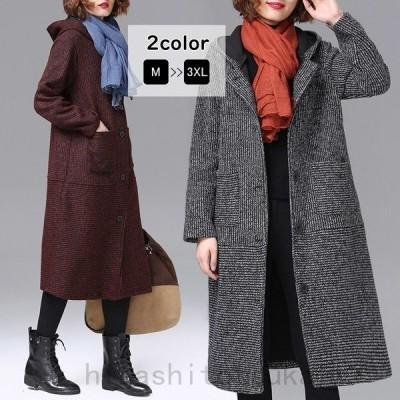 コートチェスターコートロング丈ロングコート裏起毛長袖フードアウター羽織り暖かい秋