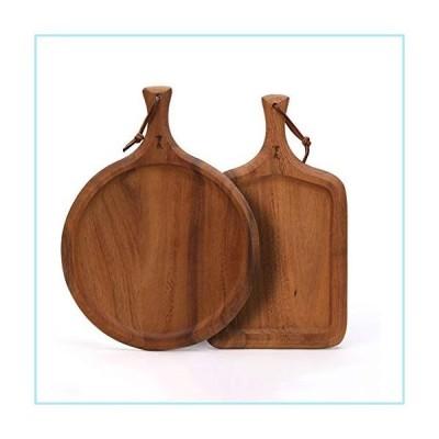 新品Cutting Board With Handle, A Set Of 2 Acacia Wood Pizza Board,Pizza Paddle, Serving Pan/Board, (Color : Set of 2)