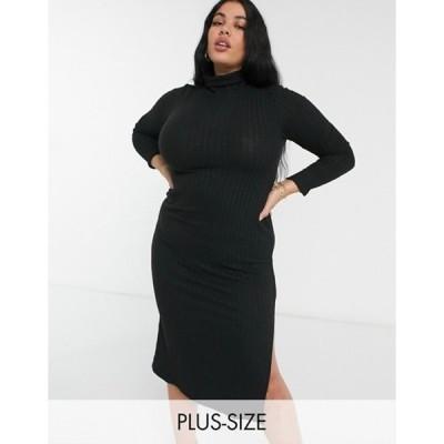 リバーアイランド レディース ワンピース トップス River Island Plus long sleeve cozy midi dress in black