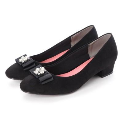 マシュガール masyugirl 【4E/幅広ゆったり・大きいサイズの靴】 ビジュー付きリボンのスクエアトゥパンプス (ブラック) SOROTTO