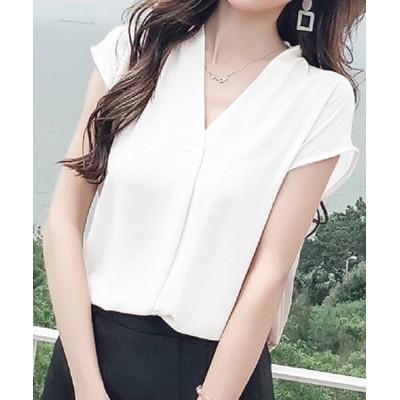 Coo+i / 胸元タックフレンチスリーブVネックシャツブラウス WOMEN トップス > シャツ/ブラウス