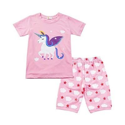 女の子 半袖 子供パジャマ 夏 部屋着 子供服 上下セット ルームウエア 可愛い ユニコーン ガールズ 寝間着 綿 ショートパンツ ベビー