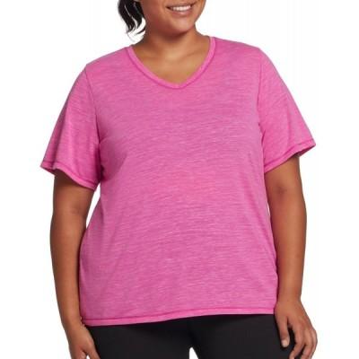 DSG レディース Tシャツ 大きいサイズ Vネック トップス Plus Size Core Cotton Jersey V-Neck T-Shirt Lush Berry Slub