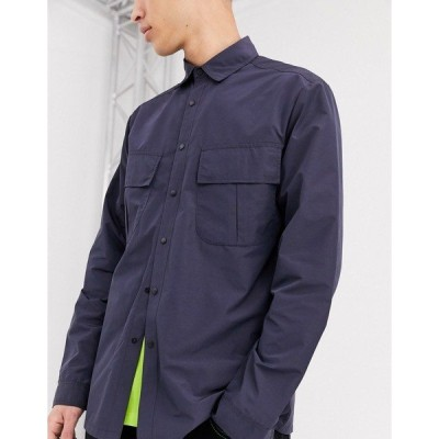 エイソス メンズ シャツ トップス ASOS DESIGN nylon overshirt in navy with angled pockets Navy