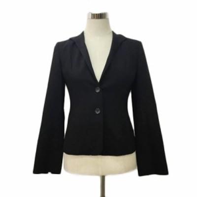 【中古】タルボット PETITES ジャケット テーラード トライアングルカラー シングル ウール 長袖 0 黒 ブラック