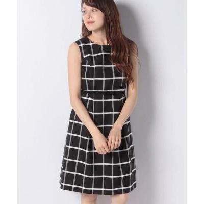 MISS J/ミス ジェイ 先染チェック ノースリーブドレス ブラック 40