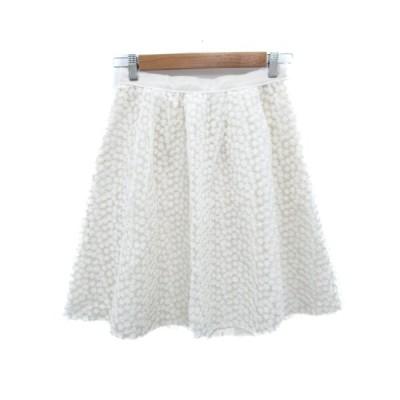 【中古】イノウェーブ innowave スカート フレア ひざ丈 刺繍 花柄 M 白 ホワイト /FF46 レディース 【ベクトル 古着】