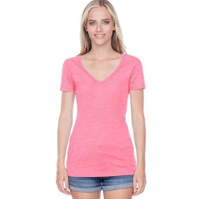 Kavio Junior Sheer Jersey Deep V Neck Short Sleeve Pink Flash XL