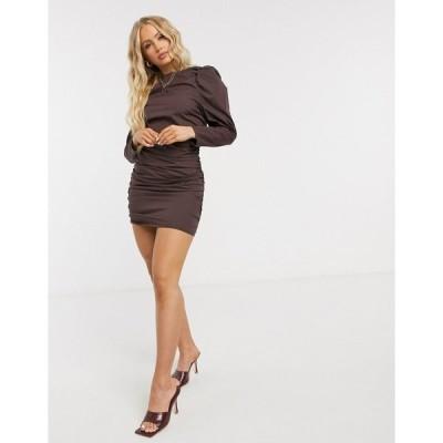 エイソス レディース ワンピース トップス ASOS DESIGN cotton ruched body-conscious mini dress with puff sleeves in brown Brown