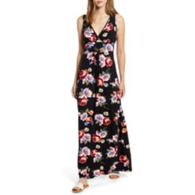 ロベアペラ ワンピース トップス レディース Floral Print Maxi Dress Black/ Coral
