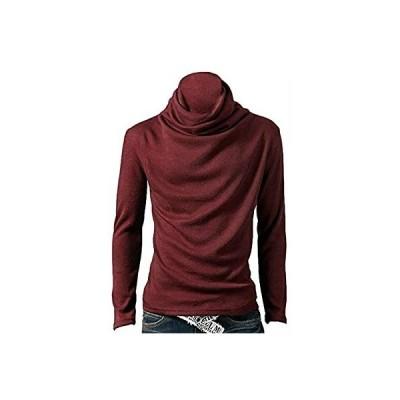 [ヴォンヴァーグ] アフガン タートルネック モックネック 長袖 無地 シンプル Tシャツ カットソー トップス メンズ (02.L, レッド)