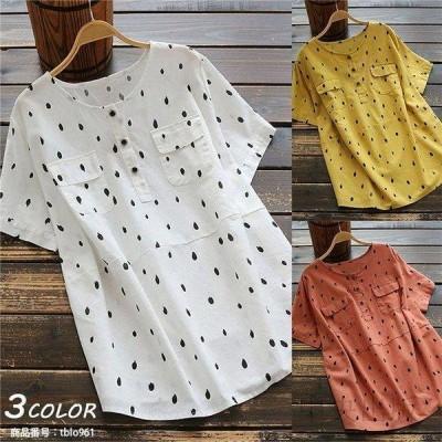 トップス 半袖 Tシャツ レディース 水玉柄 ドット柄 ベーシックカラー ドッキング 大きいサイズ 春 夏 綿麻 20代 30代 40代
