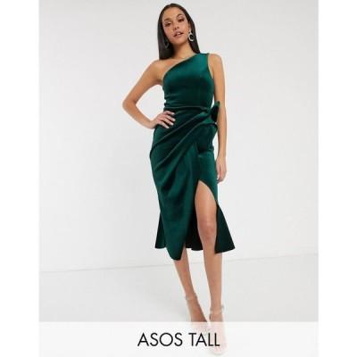 エイソス ASOS Tall レディース ワンピース ワンピース・ドレス ASOS DESIGN Tall velvet one shoulder tuck detail midi dress フォレストグリーン