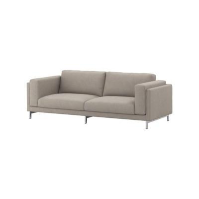 IKEA/イケア NOCKEBY 3人掛けソファ, テーノー ライトグレー, クロムメッキ (791.111.42)