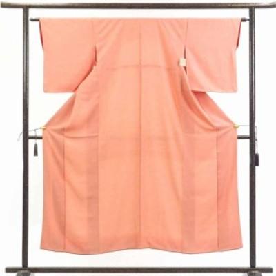 【中古】リサイクル着物 小紋 / 正絹オレンジ地鹿の子絞り柄袷小紋着物 / レディース【裄Mサイズ】(古着 リサイクル品 小紋 )