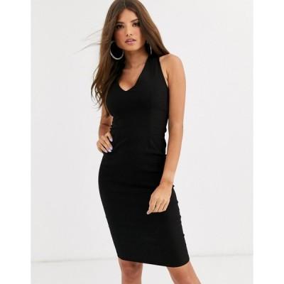 ベスパー ミディドレス レディース Vesper midi stretch dress with strappy back in black エイソス ASOS ブラック 黒