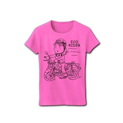 エコライダーは地球に優しい リブクルーネックTシャツ(ピンク)