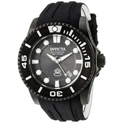 インビクタ 腕時計 メンズウォッチ Invicta Men's (20206) Pro Diver Automatic Stainless Steel and Silicone Diving Watch, Charcoal Black