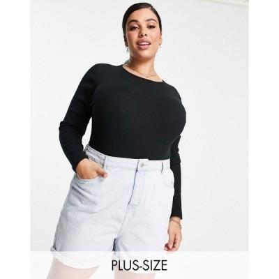 シンプリービー レディース カットソー トップス Simply Be long sleeve bodysuit in black Black