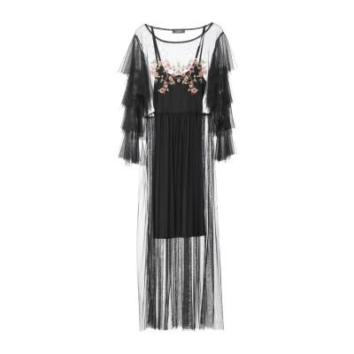 SOALLURE ロングワンピース&ドレス ブラック 44 ポリエステル 100% / レーヨン / ポリウレタン ロングワンピース&ドレス