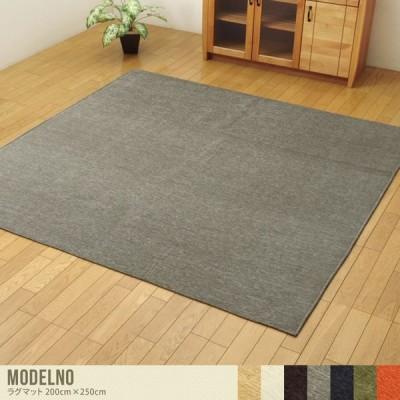 200cm×250cm ラグマット ラグ マット 長方形 約3畳 リビング 部屋 カーペット 絨毯 オールシーズン 洗濯可 洗える ホットカーペット対応 床暖房対応