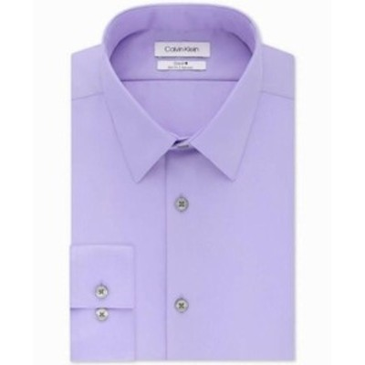 Calvin Klein カルバンクライン ファッション ドレス Calvin Klein Mens Dress Shirt Purple Size 16 1/2 Slim Fit Solid Steel