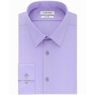 Calvin Klein カルバンクライン ファッション ドレス Calvin Klein Mens Dress Shirt Purple Size 16 1/2 Slim Fit Solid Steel
