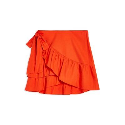 トップショップ TOPSHOP ひざ丈スカート レッド 6 麻 57% / レーヨン 43% ひざ丈スカート