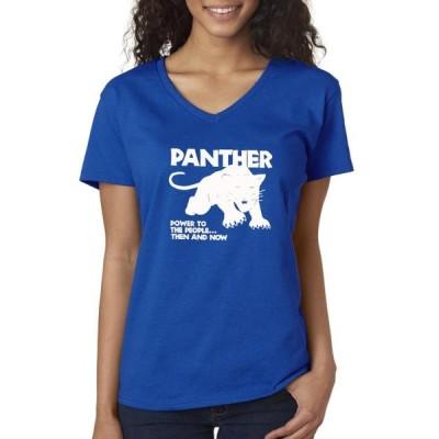 レディース 衣類 トップス Trendy USA 1092 - Women's V-Neck T-Shirt Black Panther Black Lives Matter Human Rights XS Royal Blue Tシャツ