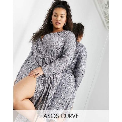 エイソス レディース ワンピース トップス ASOS EDITION Curve wrap midi dress in disc sequin in silver Silver