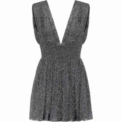 イヴ サンローラン Saint Laurent レディース パーティードレス ワンピース・ドレス Metallic silk-blend minidress Noir Argent