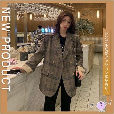 秋新作 韓国風 イギリス風 ファション チェック柄 薄手 スーツ 綺麗め ダブルブレスト OL 通勤 トップス カジュアル