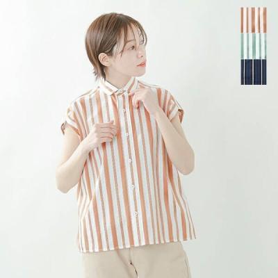 TICCA ティッカ コットンマルチストライプフレンチスリーブシャツ tbas-137 2021ss新作