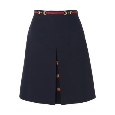 グッチ Gucci レディース ひざ丈スカート スカート Leather-trimmed wool and silk-blend midi skirt