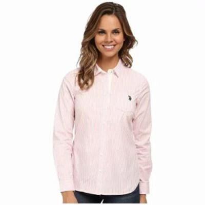 ユーエスポロアッスン ブラウス・シャツ Long Sleeve Vertical Stripe Shirt Prism Pink