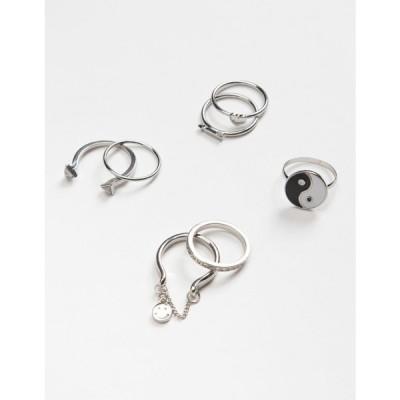 フルティルト FULL TILT レディース 指輪・リング 7点セット ジュエリー・アクセサリー 7 Piece Yin Yang & Chain Ring Set SILVER