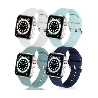 eCamframe Bands Compatible with Apple Watch Band 40mm 38mm, 4 Pack Soft Sil