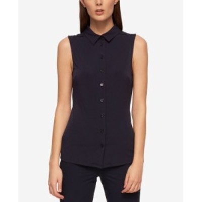 トミー ヒルフィガー レディース シャツ トップス Sleeveless Button-Up Shirt Midnight