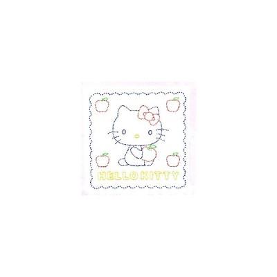 刺し子キット・花ふきん・キティとりんご(白)