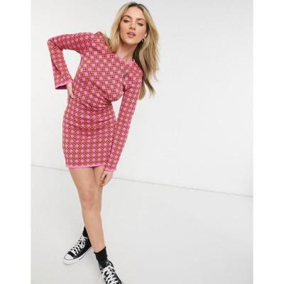 ネバーフリードレス ミニドレス レディース Never Fully Dressed knit mini shift dress with fluted sleeves in geometric print エイソス ASOS マルチカラー