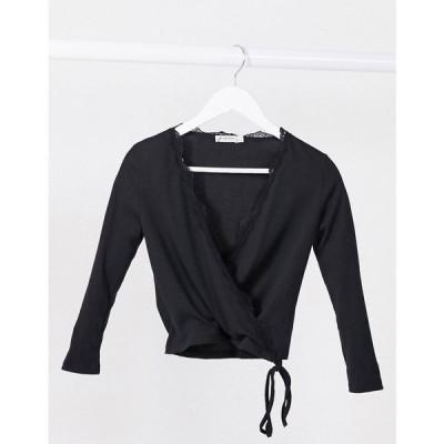 ストラディバリウス Stradivarius レディース 長袖Tシャツ トップス Wrap Long Sleeve Top With Lace Detail In Black ブラック