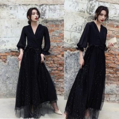 ロングドレス 結婚式 お呼ばれ ドレス パーティードレス マキシ丈 ワンピース 20代 30代 40代 ブラックドレス 五分袖 大きいサイズ