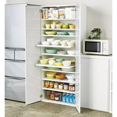 食器が探しやすく取り出しやすい食器棚 幅75cm ホワイト