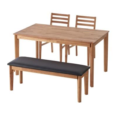 木感の強いオーク材を贅沢に使用したダイニングテーブル4点セット<4人用>