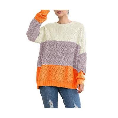 Flygo Women's Casual Long Sleeve Loose Color Block Crewneck Pullover Knit S
