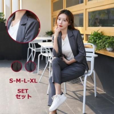 2点セット パンツ+ジャケット パンツスーツ スーツ ビジネススーツ リゾートスーツ S-LL オフィス レディース ストライプ