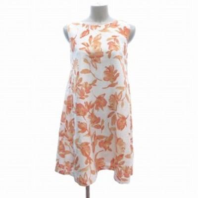 【中古】マーキュリーデュオ Aラインワンピース ミニ ノースリーブ 花柄 S 白 ホワイト オレンジ レディース