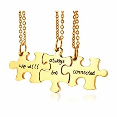 PJ Jewelry Stainless Steel we Will Always be Connected 3pcs Puzzle Matching BFF Friendship Pendant Necklace